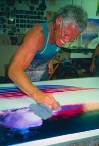 Hal creating monotypes at Topaz Editions