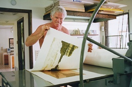 Hal pulling a Proof of an Etching/Aquatint on his intaglio press, 1990.
